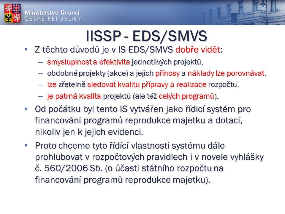 IISSP - EDS/SMVS Z těchto důvodů je v IS EDS/SMVS dobře vidět: Z těchto důvodů je v IS EDS/SMVS dobře vidět: – smysluplnost a efektivita jednotlivých projektů, – obdobné projekty (akce) a jejich přínosy a náklady lze porovnávat, – lze zřetelně sledovat kvalitu přípravy a realizace rozpočtu, – je patrná kvalita projektů (ale též celých programů).