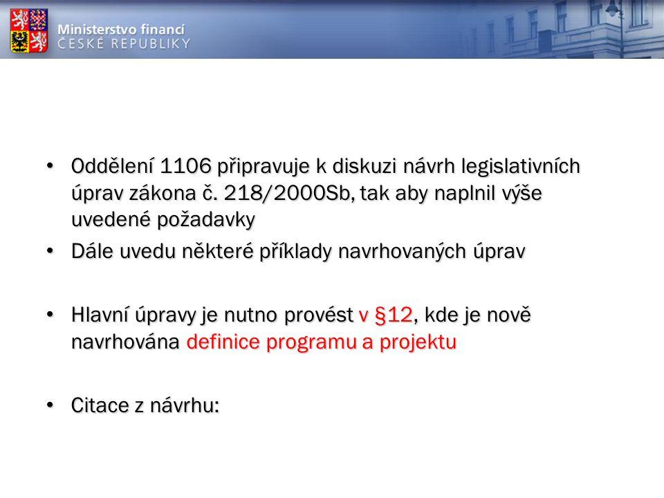 Oddělení 1106 připravuje k diskuzi návrh legislativních úprav zákona č.