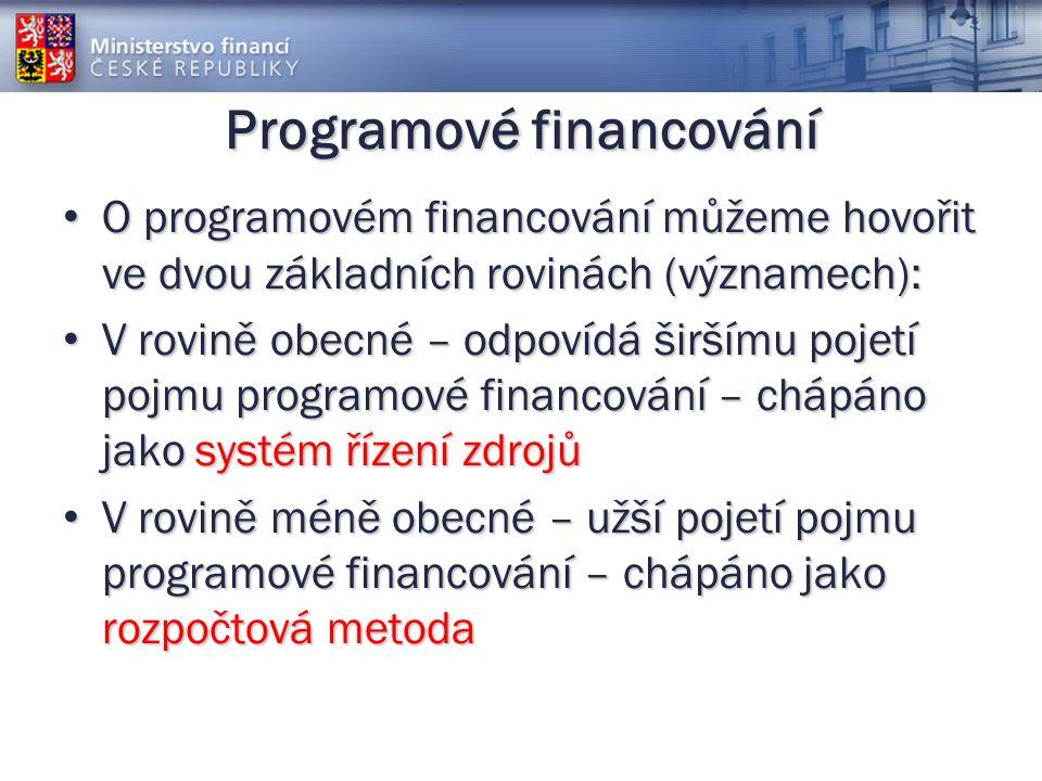 Programové financování O programovém financování můžeme hovořit ve dvou základních rovinách (významech): O programovém financování můžeme hovořit ve dvou základních rovinách (významech): V rovině obecné – odpovídá širšímu pojetí pojmu programové financování – chápáno jako systém řízení zdrojů V rovině obecné – odpovídá širšímu pojetí pojmu programové financování – chápáno jako systém řízení zdrojů V rovině méně obecné – užší pojetí pojmu programové financování – chápáno jako rozpočtová metoda V rovině méně obecné – užší pojetí pojmu programové financování – chápáno jako rozpočtová metoda