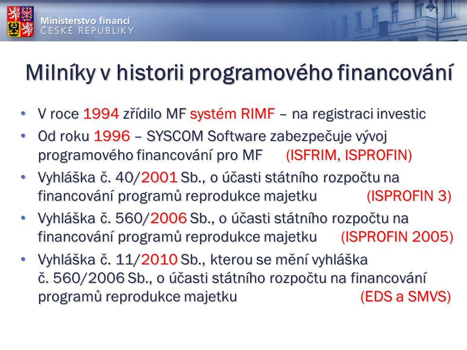 Milníky v historii programového financování V roce 1994 zřídilo MF systém RIMF – na registraci investic V roce 1994 zřídilo MF systém RIMF – na registraci investic Od roku 1996 – SYSCOM Software zabezpečuje vývoj programového financování pro MF (ISFRIM, ISPROFIN) Od roku 1996 – SYSCOM Software zabezpečuje vývoj programového financování pro MF (ISFRIM, ISPROFIN) Vyhláška č.