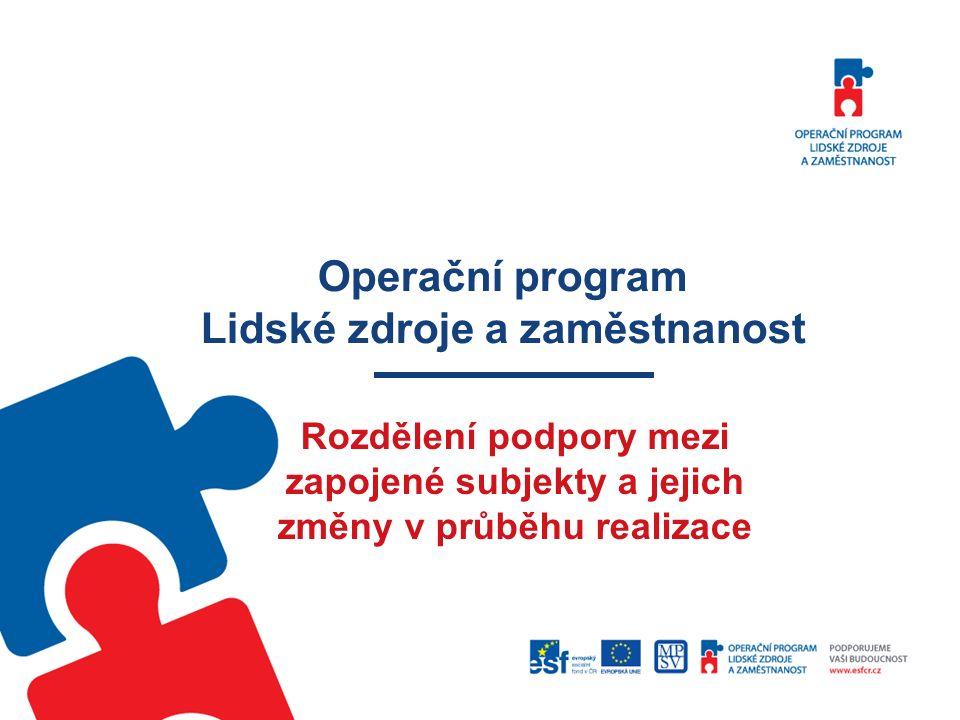 Operační program Lidské zdroje a zaměstnanost Rozdělení podpory mezi zapojené subjekty a jejich změny v průběhu realizace
