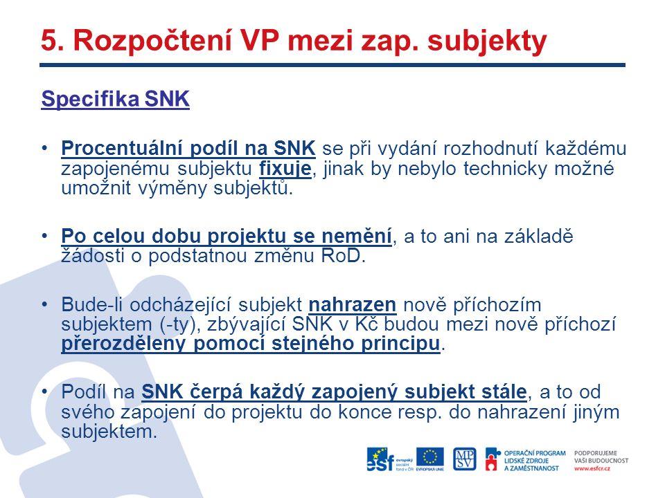 Specifika SNK Procentuální podíl na SNK se při vydání rozhodnutí každému zapojenému subjektu fixuje, jinak by nebylo technicky možné umožnit výměny subjektů.