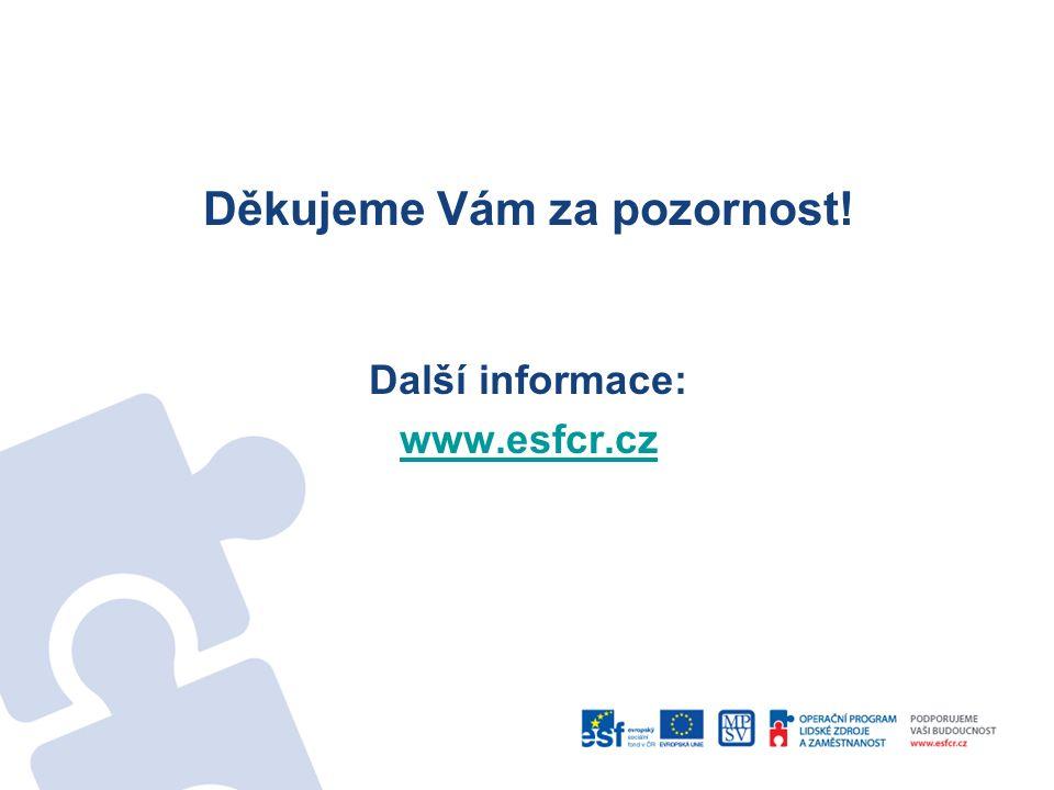 Děkujeme Vám za pozornost! Další informace: www.esfcr.cz