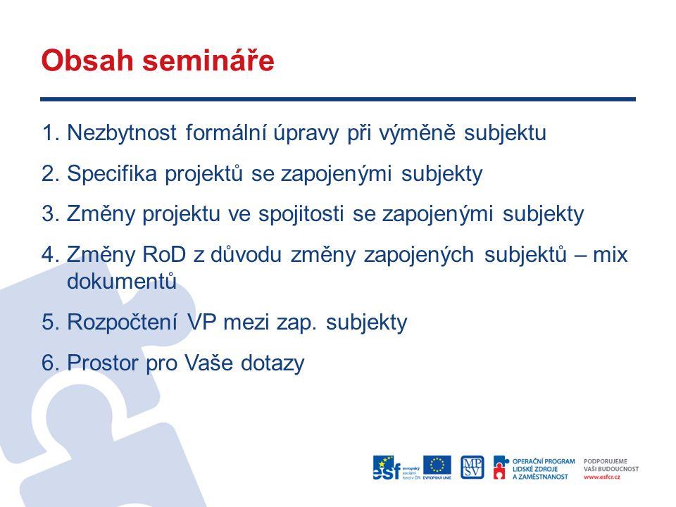 Obsah semináře 1.Nezbytnost formální úpravy při výměně subjektu 2.Specifika projektů se zapojenými subjekty 3.Změny projektu ve spojitosti se zapojenými subjekty 4.Změny RoD z důvodu změny zapojených subjektů – mix dokumentů 5.Rozpočtení VP mezi zap.
