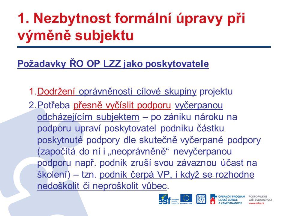 1. Nezbytnost formální úpravy při výměně subjektu Požadavky ŘO OP LZZ jako poskytovatele 1.Dodržení oprávněnosti cílové skupiny projektu 2.Potřeba pře