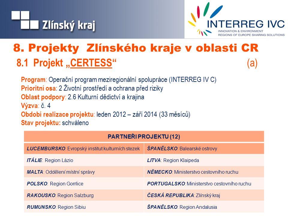 Program : Operační program meziregionální spolupráce (INTERREG IV C) Prioritní osa : 2 Životní prostředí a ochrana před riziky Oblast podpory : 2.6 Kulturní dědictví a krajina Výzva : č.