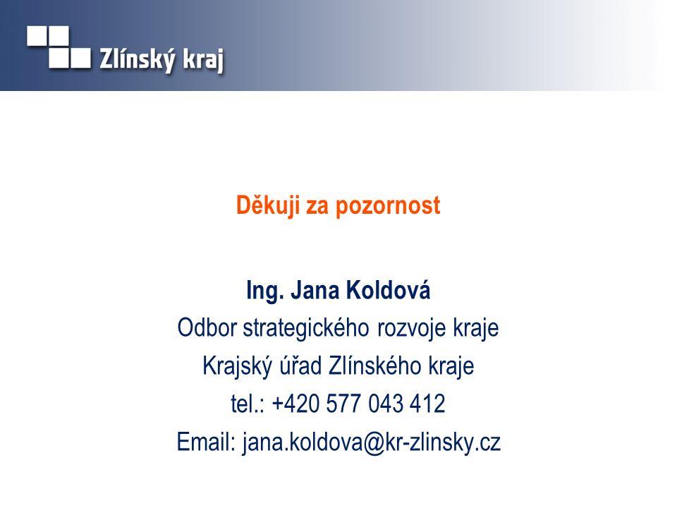 Děkuji za pozornost Ing. Jana Koldová Odbor strategického rozvoje kraje Krajský úřad Zlínského kraje tel.: +420 577 043 412 Email: jana.koldova@kr-zli