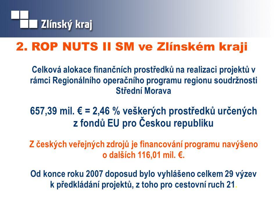 2. ROP NUTS II SM ve Zlínském kraji Celková alokace finančních prostředků na realizaci projektů v rámci Regionálního operačního programu regionu soudr