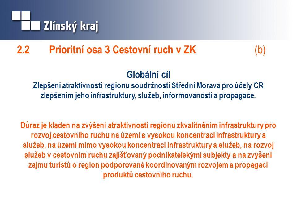 Globální cíl Zlepšeni atraktivnosti regionu soudržnosti Střední Morava pro účely CR zlepšením jeho infrastruktury, služeb, informovanosti a propagace.
