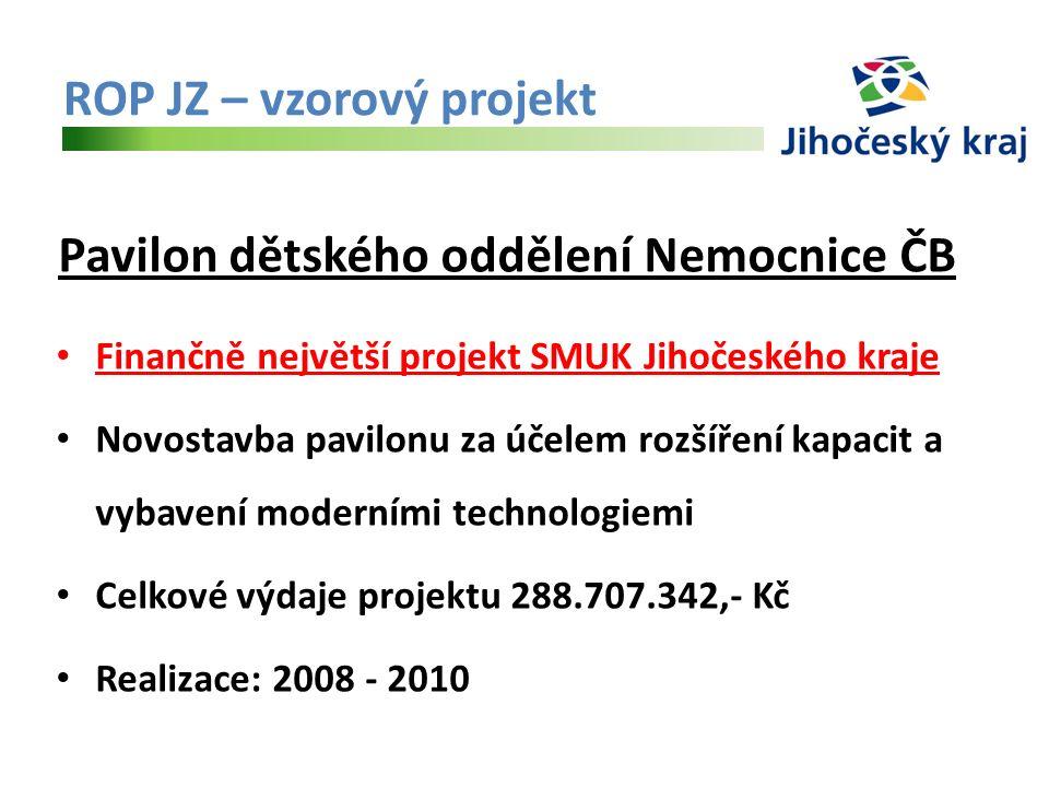 ROP JZ – vzorový projekt Pavilon dětského oddělení Nemocnice ČB Finančně největší projekt SMUK Jihočeského kraje Novostavba pavilonu za účelem rozšíření kapacit a vybavení moderními technologiemi Celkové výdaje projektu 288.707.342,- Kč Realizace: 2008 - 2010