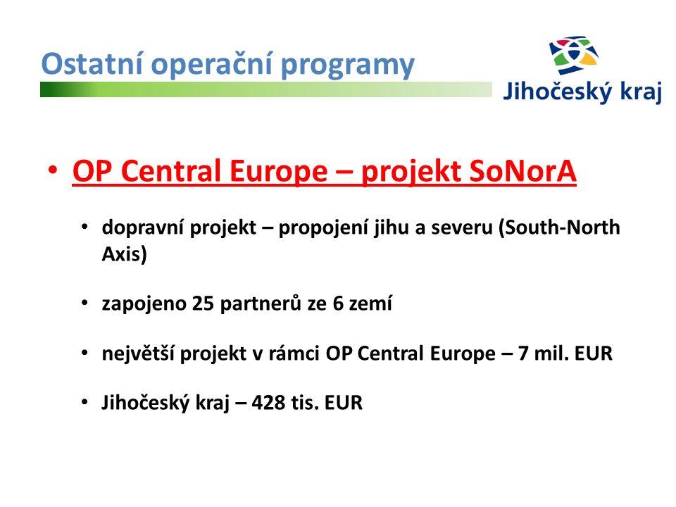 Ostatní operační programy OP Central Europe – projekt SoNorA dopravní projekt – propojení jihu a severu (South-North Axis) zapojeno 25 partnerů ze 6 zemí největší projekt v rámci OP Central Europe – 7 mil.