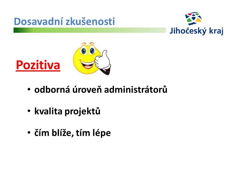 Dosavadní zkušenosti Pozitiva odborná úroveň administrátorů kvalita projektů čím blíže, tím lépe