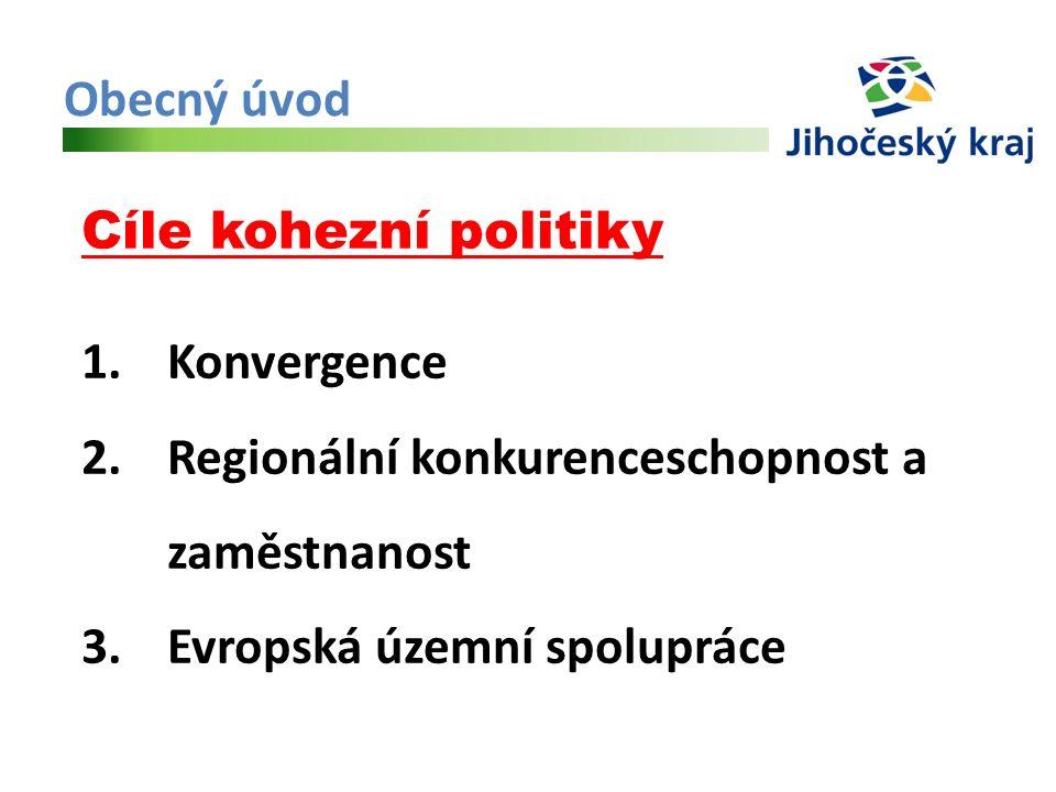 Obecný úvod Cíle kohezní politiky 1.Konvergence 2.Regionální konkurenceschopnost a zaměstnanost 3.Evropská územní spolupráce