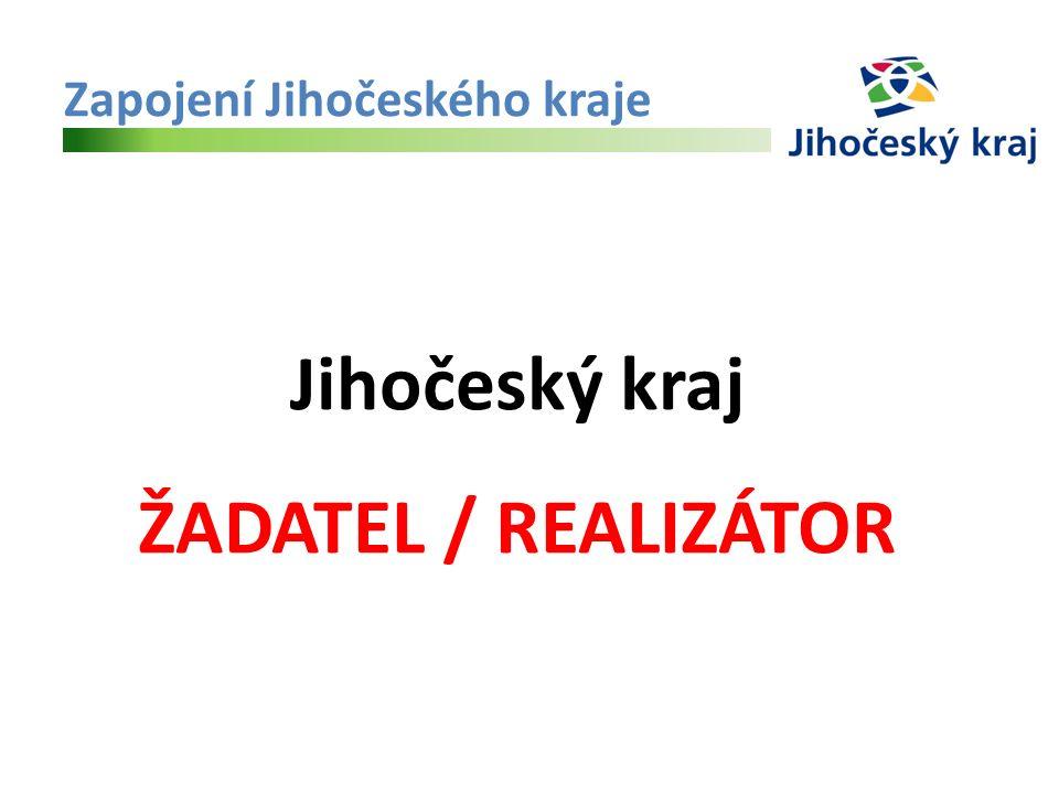 Zapojení Jihočeského kraje Jihočeský kraj ŽADATEL / REALIZÁTOR
