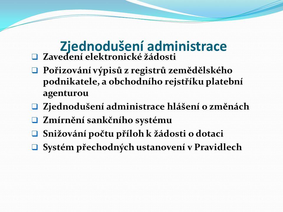 Zjednodušení administrace  Zavedení elektronické žádosti  Pořizování výpisů z registrů zemědělského podnikatele, a obchodního rejstříku platební agenturou  Zjednodušení administrace hlášení o změnách  Zmírnění sankčního systému  Snižování počtu příloh k žádosti o dotaci  Systém přechodných ustanovení v Pravidlech