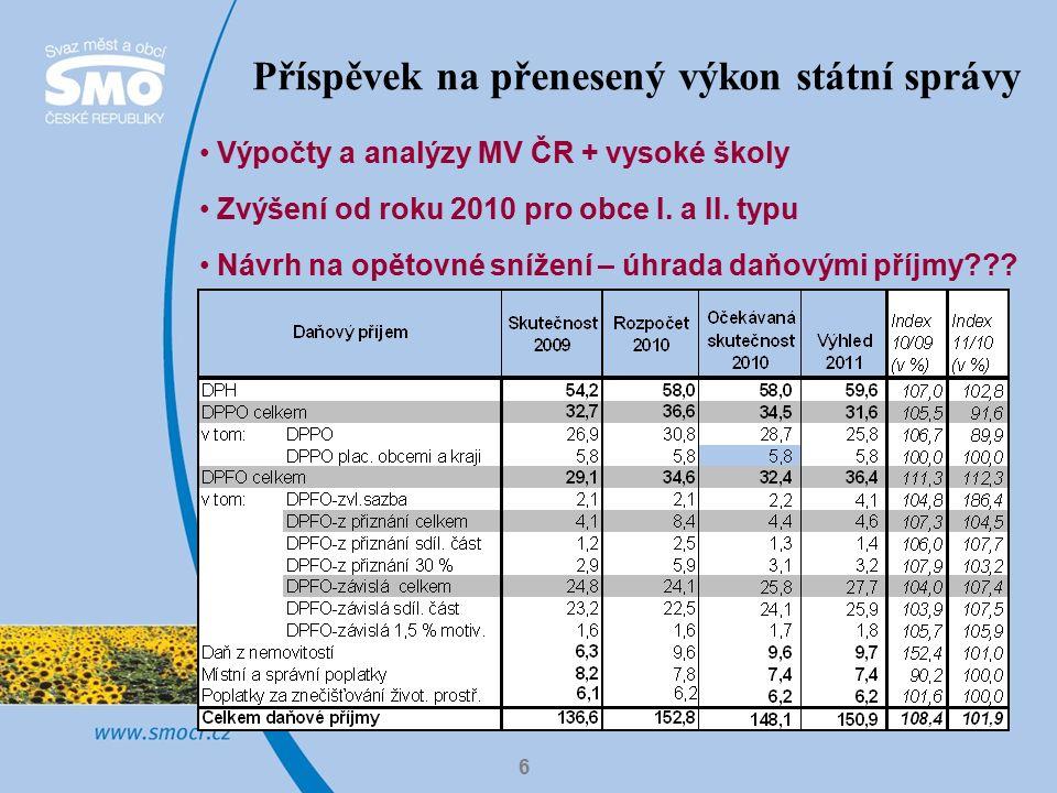 6 Výpočty a analýzy MV ČR + vysoké školy Zvýšení od roku 2010 pro obce I.