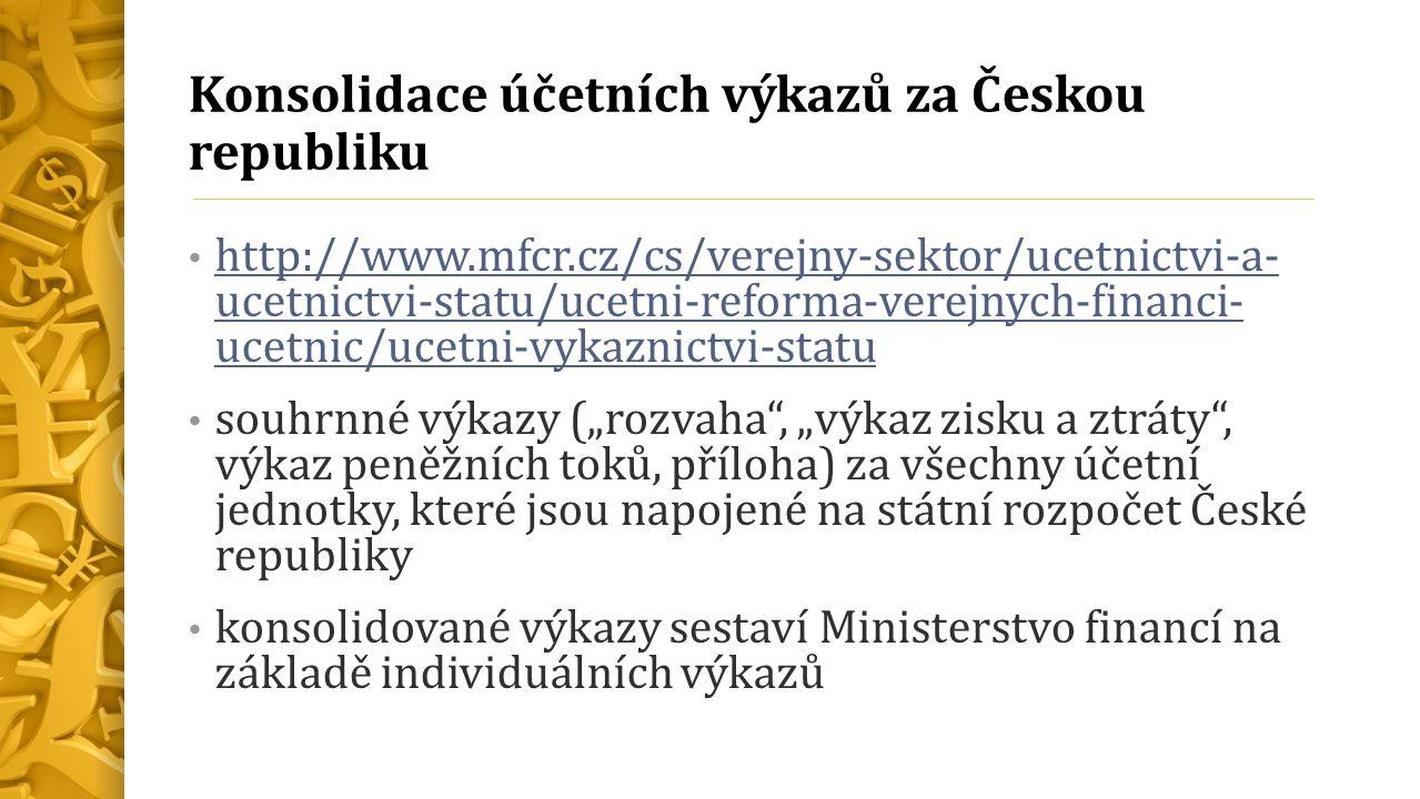 """Konsolidace účetních výkazů za Českou republiku http://www.mfcr.cz/cs/verejny-sektor/ucetnictvi-a- ucetnictvi-statu/ucetni-reforma-verejnych-financi- ucetnic/ucetni-vykaznictvi-statu http://www.mfcr.cz/cs/verejny-sektor/ucetnictvi-a- ucetnictvi-statu/ucetni-reforma-verejnych-financi- ucetnic/ucetni-vykaznictvi-statu souhrnné výkazy (""""rozvaha , """"výkaz zisku a ztráty , výkaz peněžních toků, příloha) za všechny účetní jednotky, které jsou napojené na státní rozpočet České republiky konsolidované výkazy sestaví Ministerstvo financí na základě individuálních výkazů"""