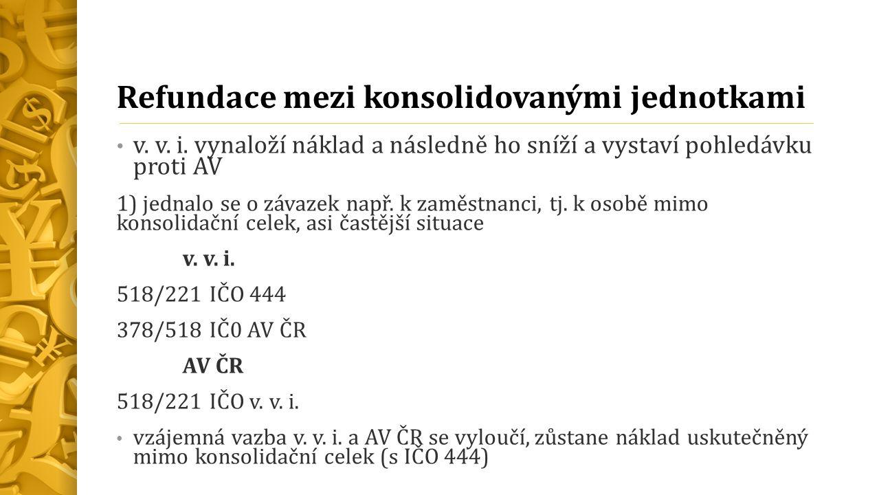 Refundace mezi konsolidovanými jednotkami v. v. i.