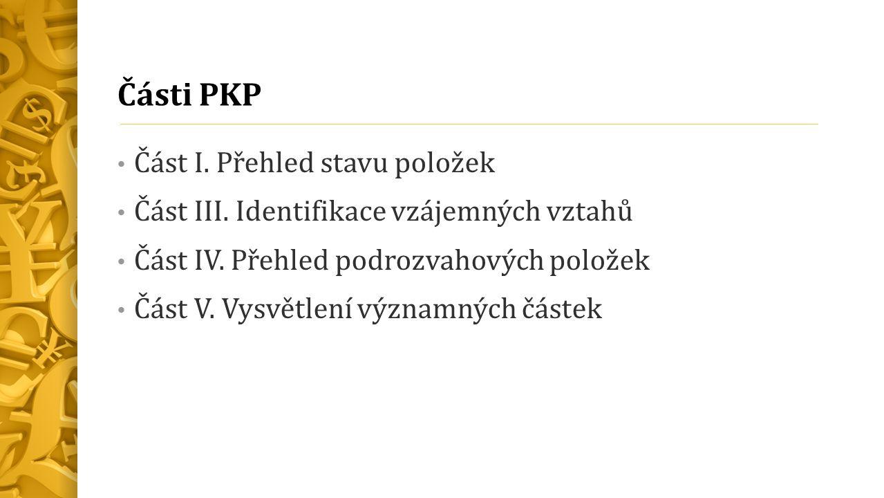 Části PKP Část I. Přehled stavu položek Část III.
