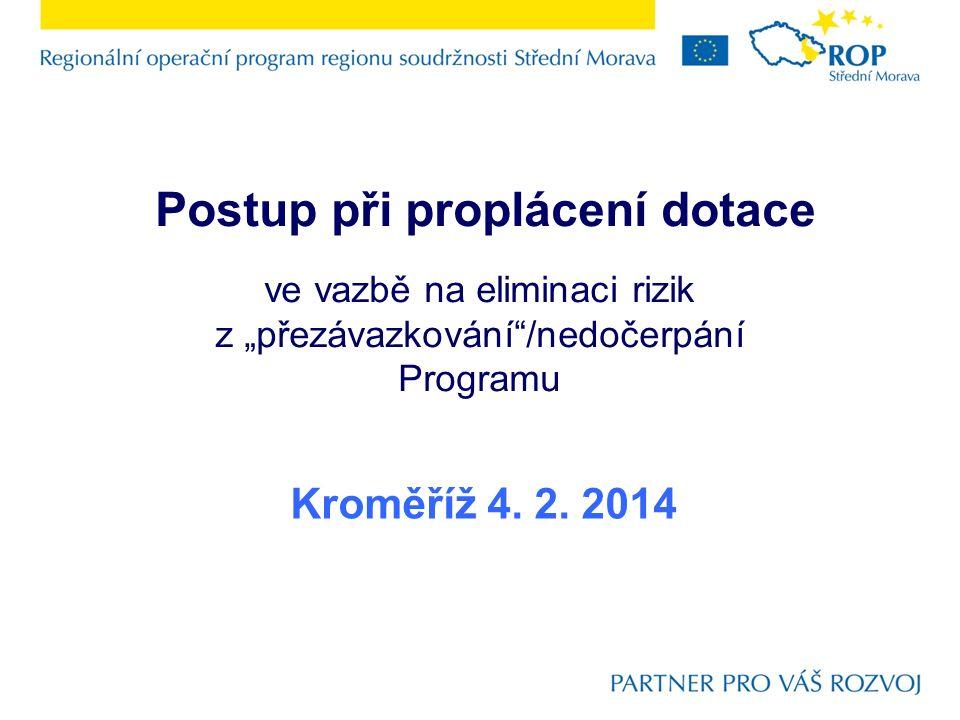 """Postup při proplácení dotace ve vazbě na eliminaci rizik z """"přezávazkování /nedočerpání Programu Kroměříž 4."""