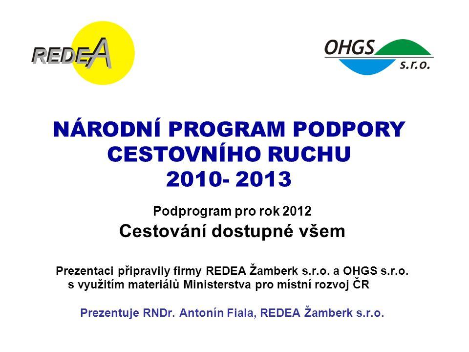 NÁRODNÍ PROGRAM PODPORY CESTOVNÍHO RUCHU 2010- 2013 Podprogram pro rok 2012 Cestování dostupné všem Prezentaci připravily firmy REDEA Žamberk s.r.o.