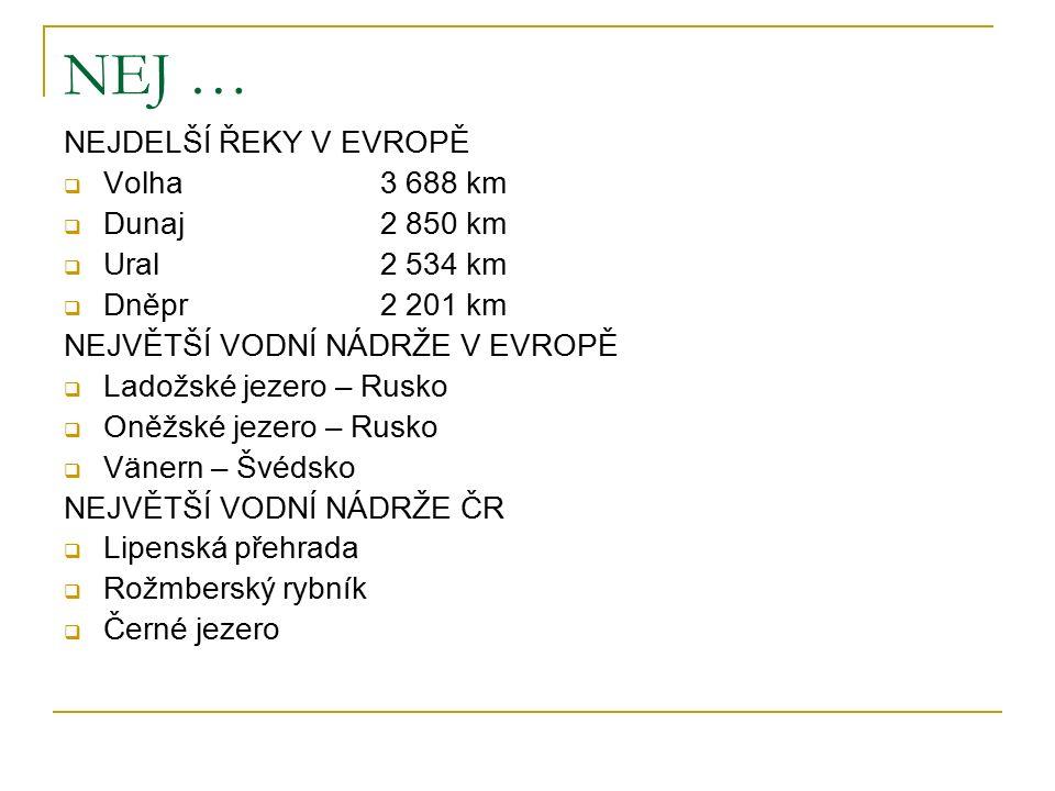 NEJ … NEJDELŠÍ ŘEKY V EVROPĚ  Volha 3 688 km  Dunaj2 850 km  Ural2 534 km  Dněpr2 201 km NEJVĚTŠÍ VODNÍ NÁDRŽE V EVROPĚ  Ladožské jezero – Rusko  Oněžské jezero – Rusko  Vänern – Švédsko NEJVĚTŠÍ VODNÍ NÁDRŽE ČR  Lipenská přehrada  Rožmberský rybník  Černé jezero