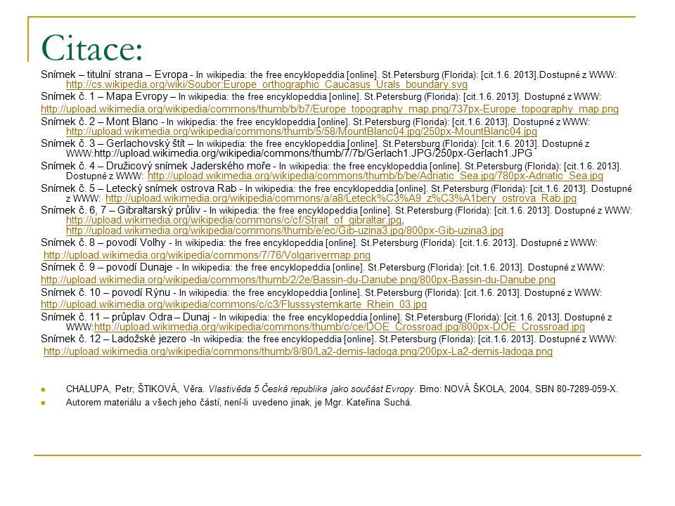 Citace: Snímek – titulní strana – Evropa - In wikipedia: the free encyklopeddia [online].