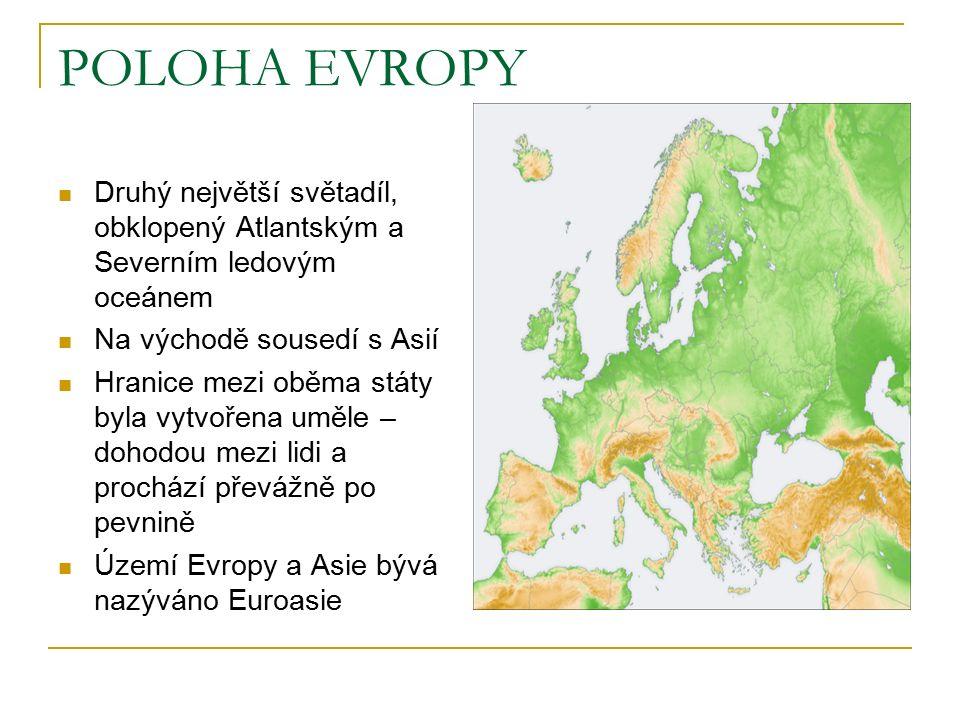 POLOHA EVROPY Druhý největší světadíl, obklopený Atlantským a Severním ledovým oceánem Na východě sousedí s Asií Hranice mezi oběma státy byla vytvořena uměle – dohodou mezi lidi a prochází převážně po pevnině Území Evropy a Asie bývá nazýváno Euroasie