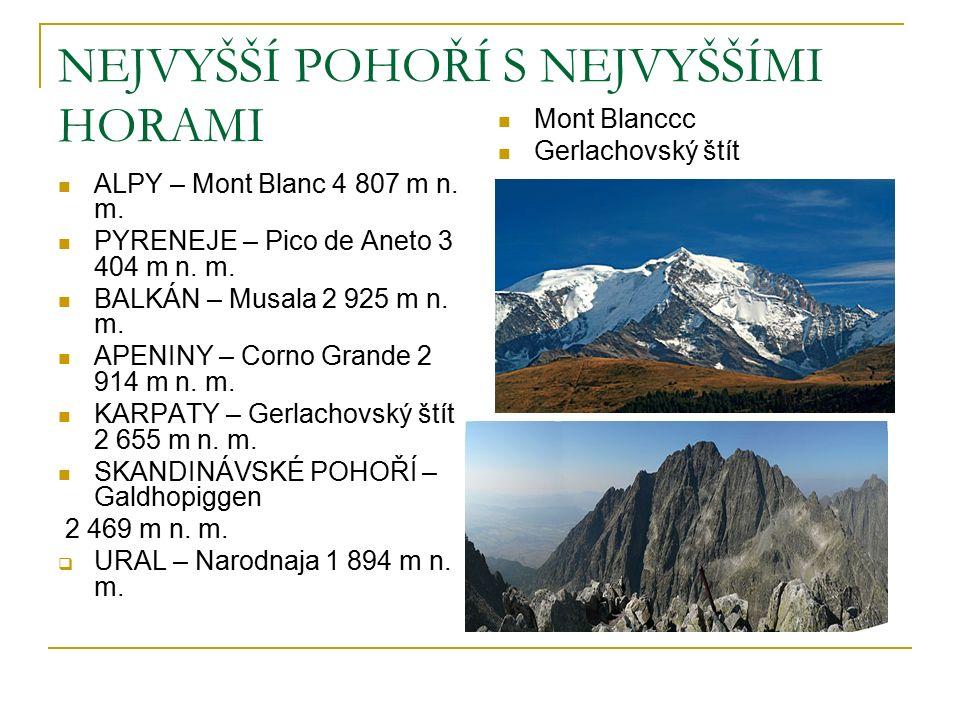 NEJVYŠŠÍ POHOŘÍ S NEJVYŠŠÍMI HORAMI ALPY – Mont Blanc 4 807 m n.