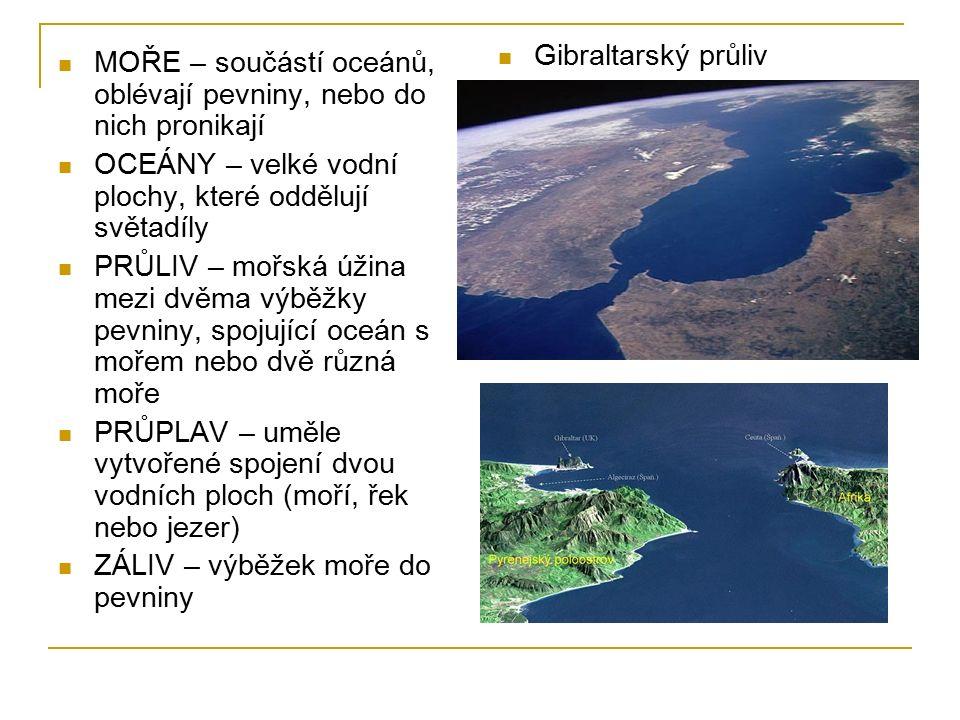 MOŘE – součástí oceánů, oblévají pevniny, nebo do nich pronikají OCEÁNY – velké vodní plochy, které oddělují světadíly PRŮLIV – mořská úžina mezi dvěma výběžky pevniny, spojující oceán s mořem nebo dvě různá moře PRŮPLAV – uměle vytvořené spojení dvou vodních ploch (moří, řek nebo jezer) ZÁLIV – výběžek moře do pevniny Gibraltarský průliv