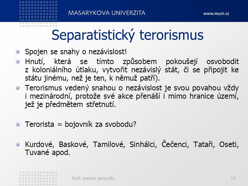Separatistický terorismus Spojen se snahy o nezávislost.