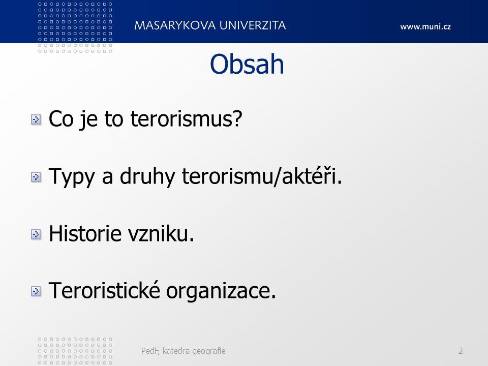 Druhy terorismu Konvenční: výbuchy, vraždy, únosy, požáry,atd.