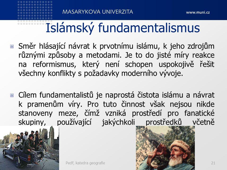 Islámský fundamentalismus Směr hlásající návrat k prvotnímu islámu, k jeho zdrojům různými způsoby a metodami.