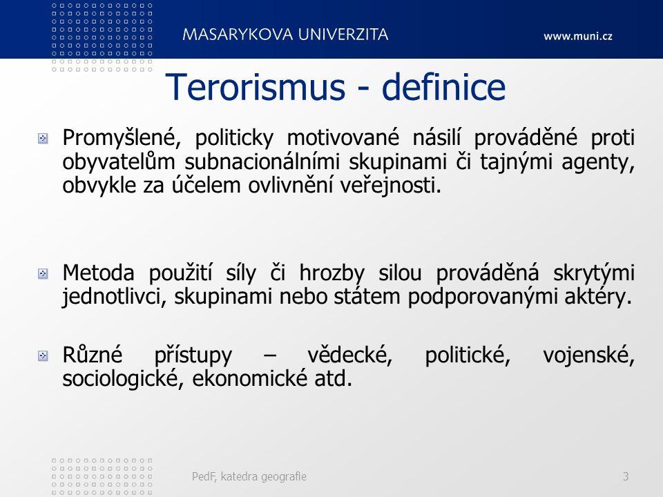Druhy terorismu Vnitřní Státní Revoluční Mezinárodní /náboženský/ Separatistický /politický a etnický/ Globální /ekonomický rozměr/ PedF, katedra geografie14