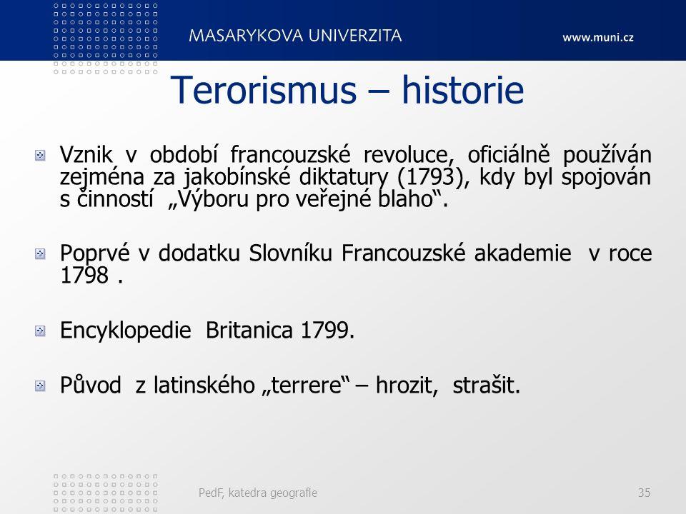 """Terorismus – historie Vznik v období francouzské revoluce, oficiálně používán zejména za jakobínské diktatury (1793), kdy byl spojován s činností """"Výboru pro veřejné blaho ."""