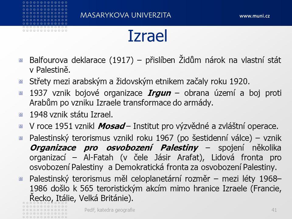 Izrael Balfourova deklarace (1917) – přislíben Židům nárok na vlastní stát v Palestině.
