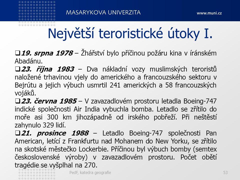 Největší teroristické útoky I. PedF, katedra geografie53  19.