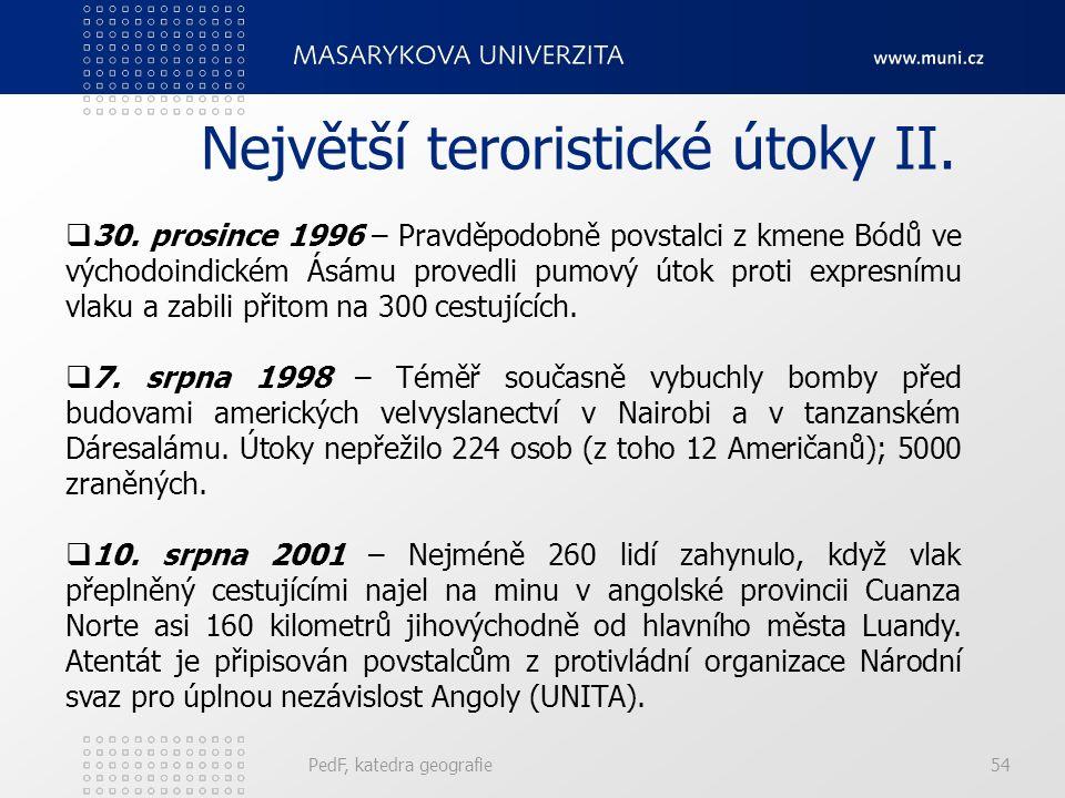 Největší teroristické útoky II. PedF, katedra geografie54  30.