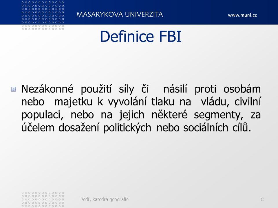 Definice FBI Nezákonné použití síly či násilí proti osobám nebo majetku k vyvolání tlaku na vládu, civilní populaci, nebo na jejich některé segmenty, za účelem dosažení politických nebo sociálních cílů.