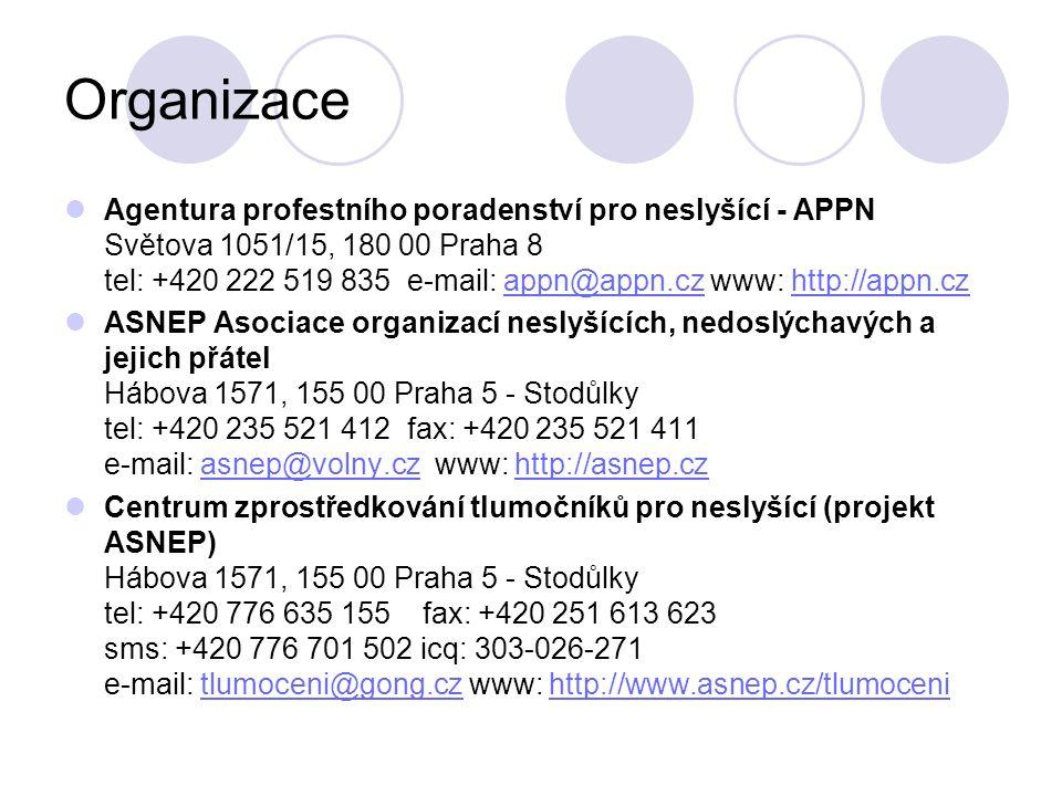 Organizace Agentura profestního poradenství pro neslyšící - APPN Světova 1051/15, 180 00 Praha 8 tel: +420 222 519 835 e-mail: appn@appn.cz www: http: