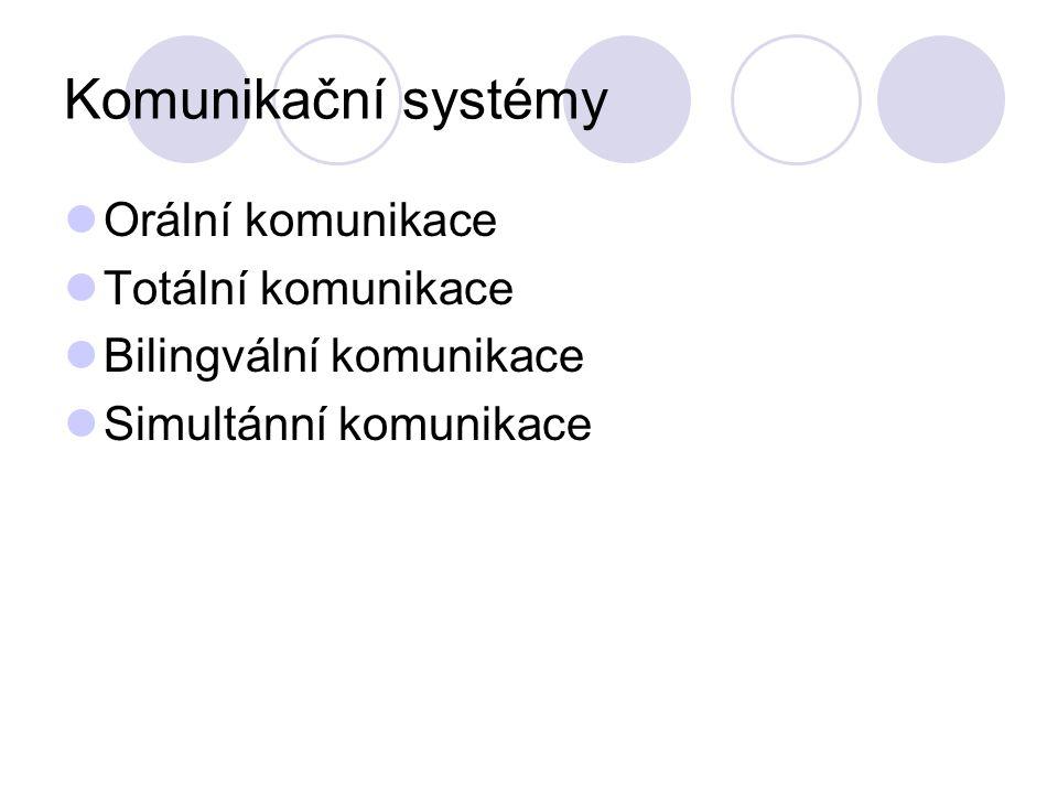 Komunikační systémy Orální komunikace Totální komunikace Bilingvální komunikace Simultánní komunikace