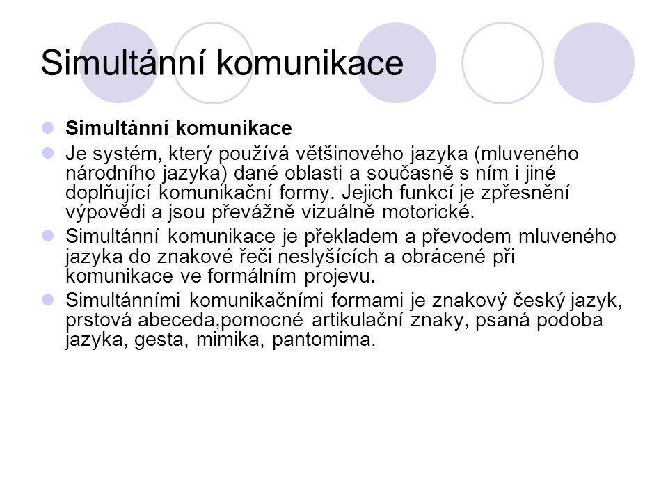 Simultánní komunikace Je systém, který používá většinového jazyka (mluveného národního jazyka) dané oblasti a současně s ním i jiné doplňující komunik
