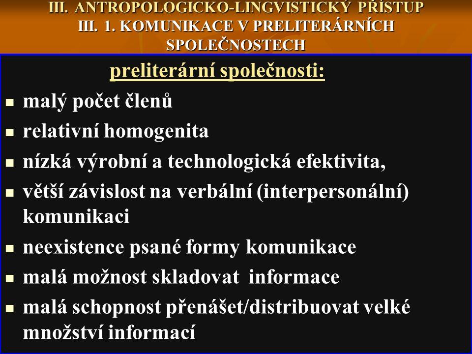 III. ANTROPOLOGICKO-LINGVISTICKÝ PŘÍSTUP III. 1.