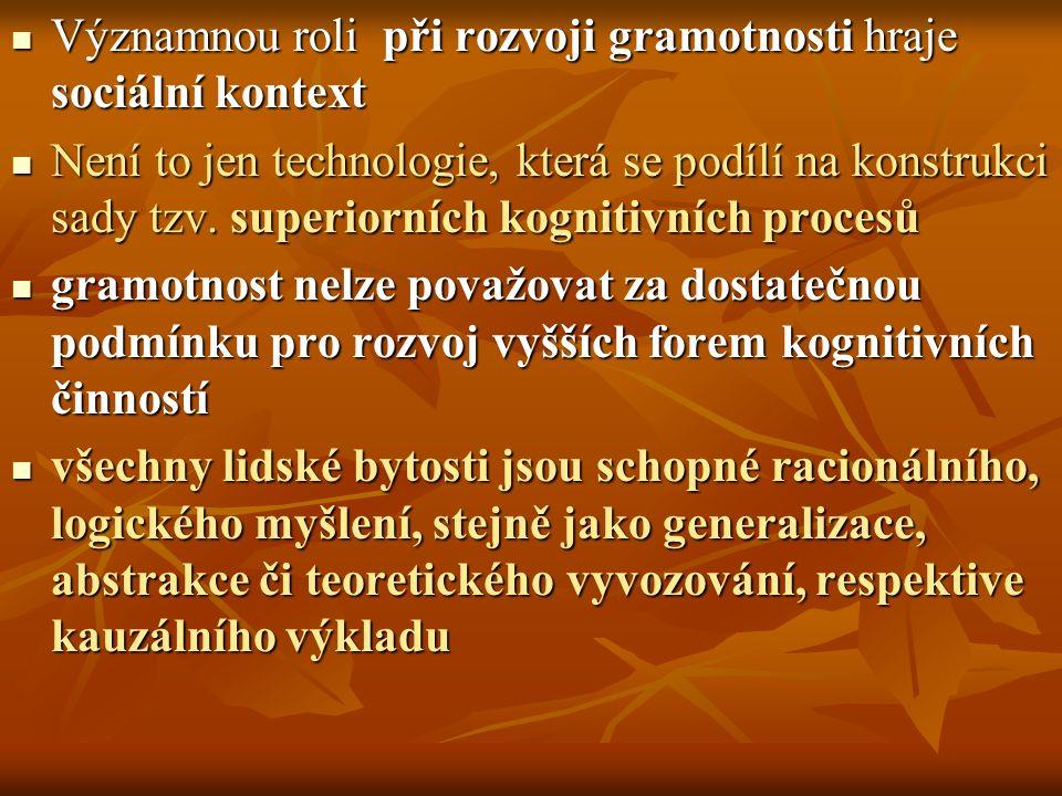 Významnou roli při rozvoji gramotnosti hraje sociální kontext Významnou roli při rozvoji gramotnosti hraje sociální kontext Není to jen technologie, k