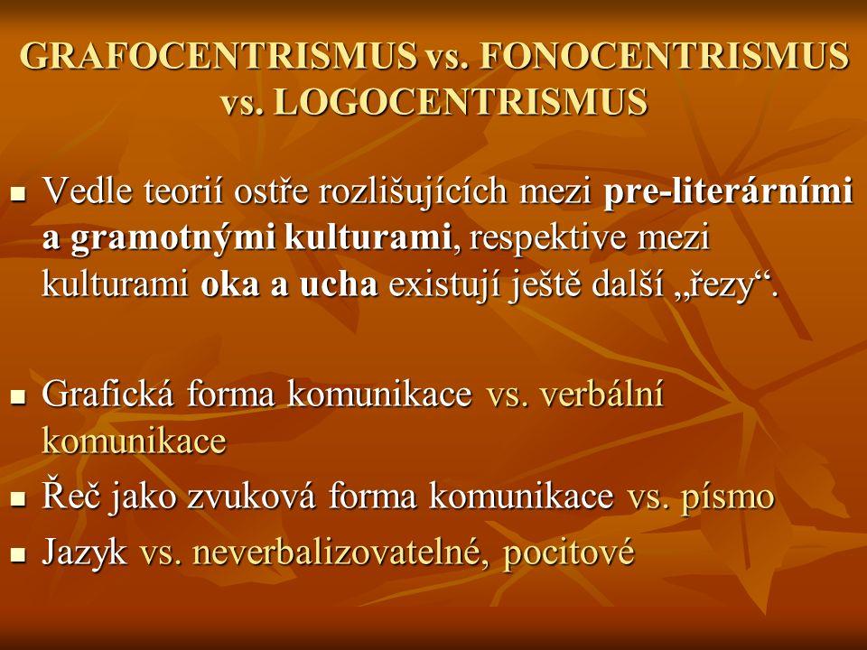 GRAFOCENTRISMUS vs. FONOCENTRISMUS vs. LOGOCENTRISMUS Vedle teorií ostře rozlišujících mezi pre-literárními a gramotnými kulturami, respektive mezi ku