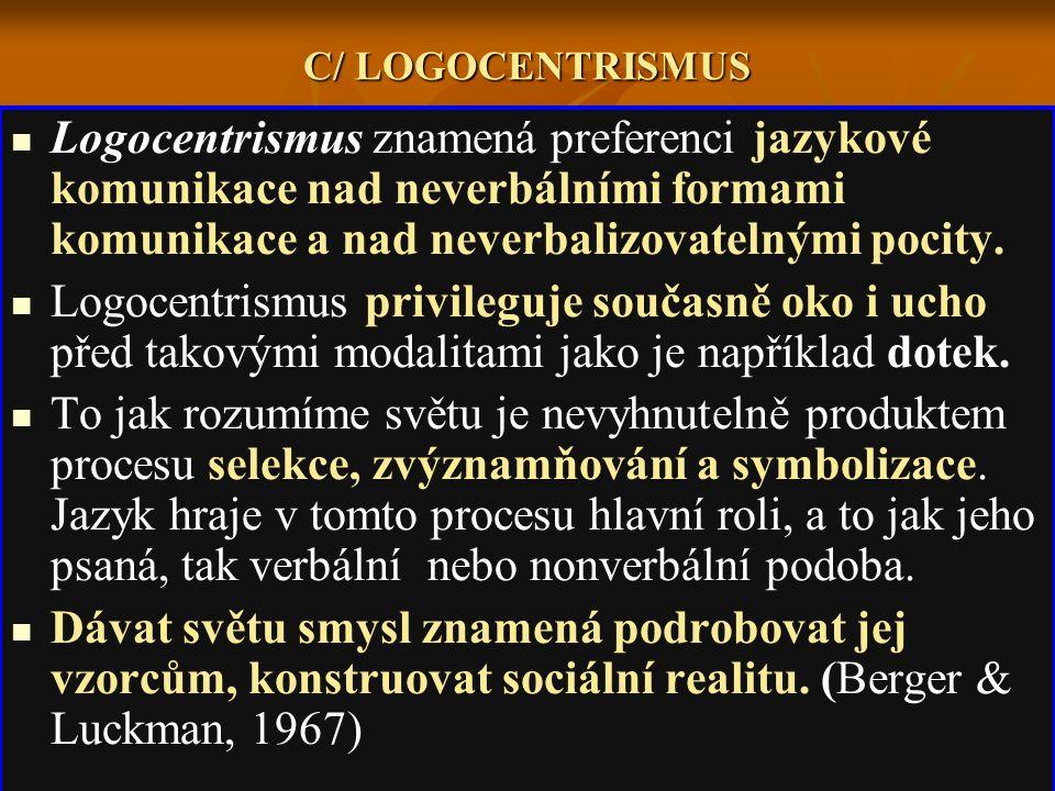 C/ LOGOCENTRISMUS Logocentrismus znamená preferenci jazykové komunikace nad neverbálními formami komunikace a nad neverbalizovatelnými pocity. Logocen