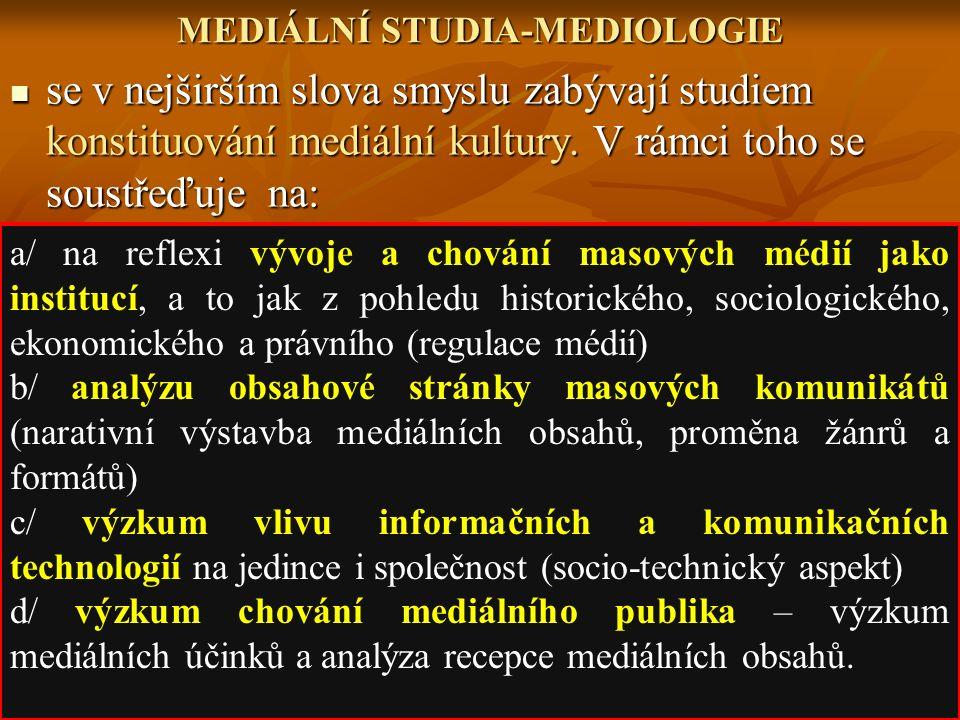 MEDIÁLNÍ STUDIA-MEDIOLOGIE se v nejširším slova smyslu zabývají studiem konstituování mediální kultury. V rámci toho se soustřeďuje na: se v nejširším