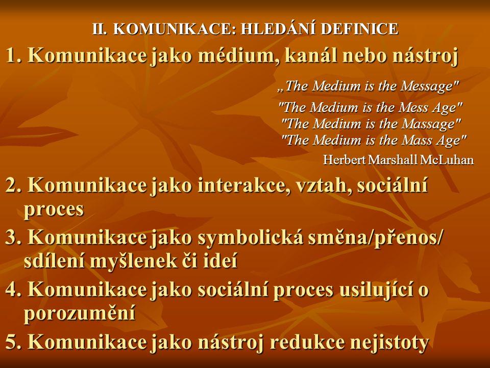 II. KOMUNIKACE: HLEDÁNÍ DEFINICE 1.