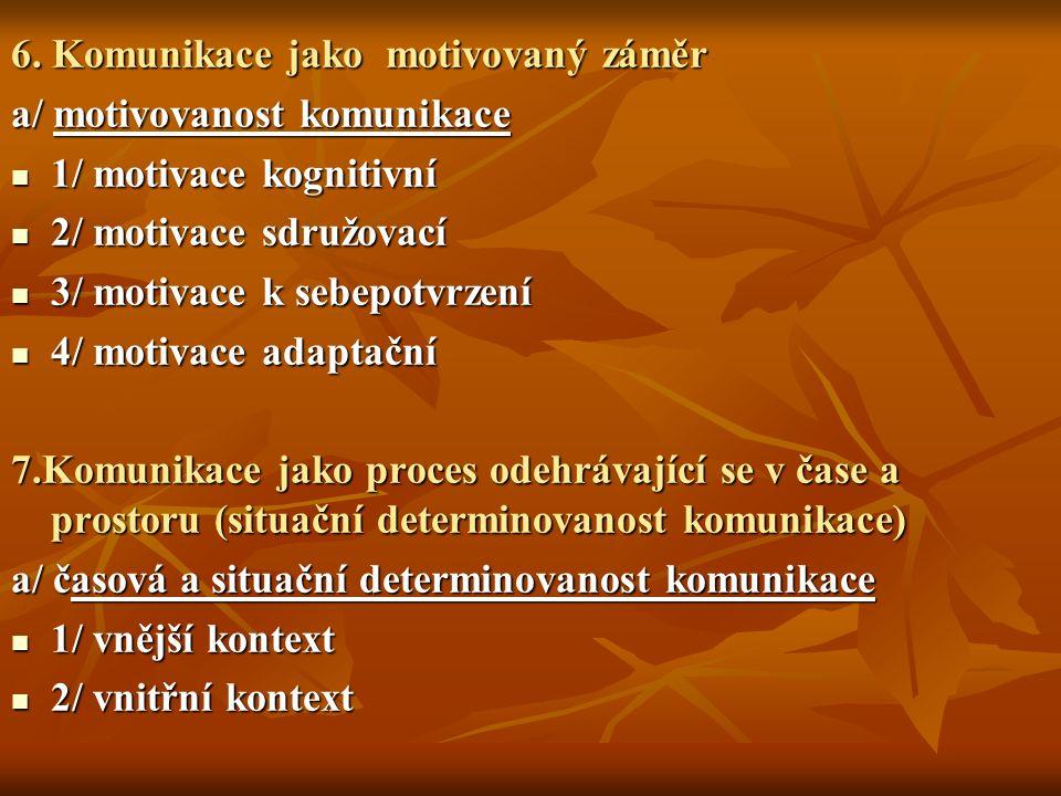 6. Komunikace jako motivovaný záměr a/ motivovanost komunikace 1/ motivace kognitivní 1/ motivace kognitivní 2/ motivace sdružovací 2/ motivace sdružo