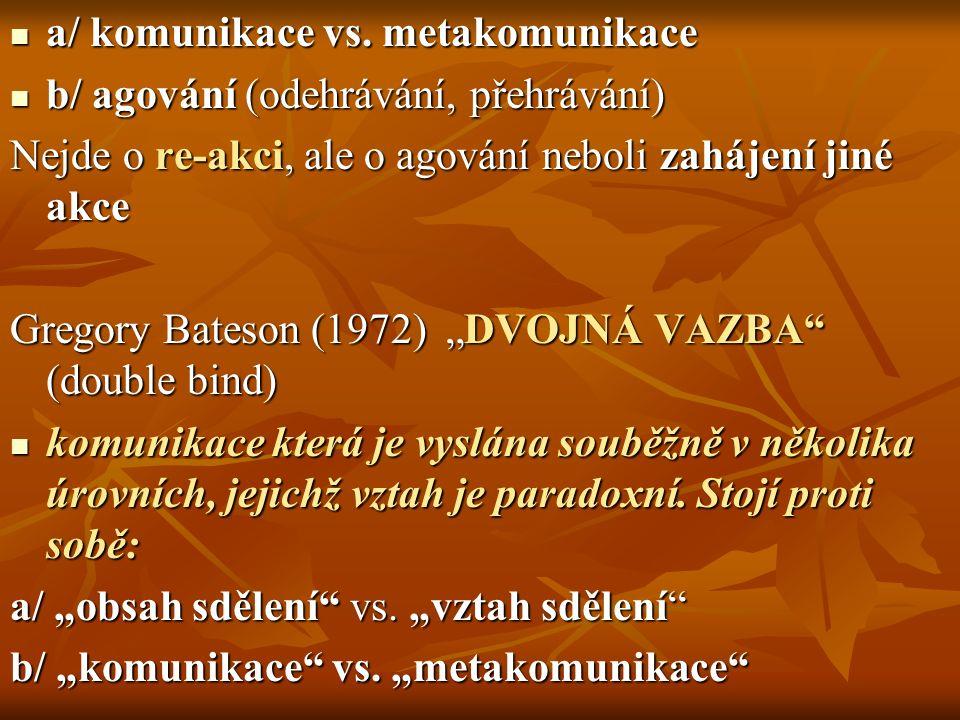 a/ komunikace vs. metakomunikace a/ komunikace vs. metakomunikace b/ agování (odehrávání, přehrávání) b/ agování (odehrávání, přehrávání) Nejde o re-a